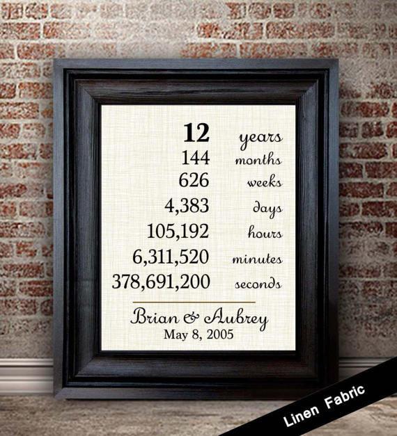 12Th Anniversary Gift Ideas Modern  12th Anniversary Gift for Wife 12 Year Anniversary Gift for