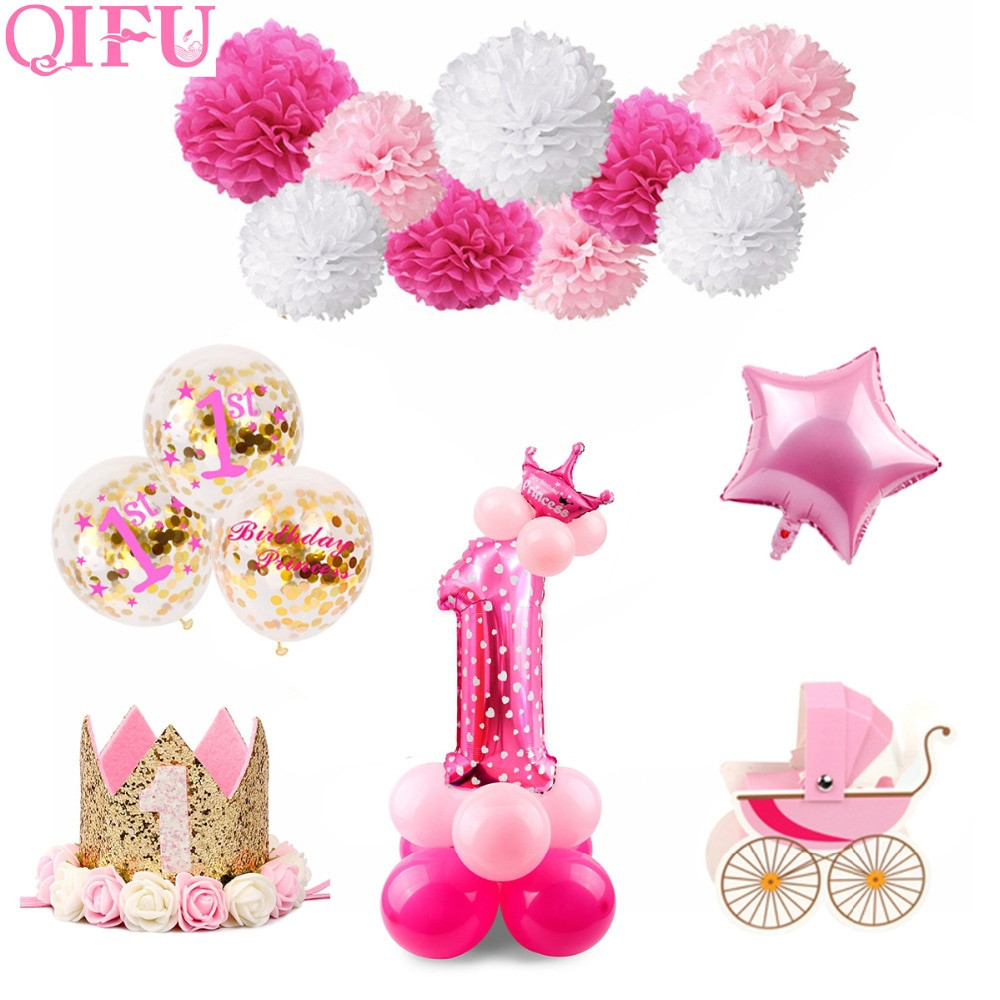 1st Birthday Decor  QIFU 1st Birthday Party Decorations Kids Girl Pink First