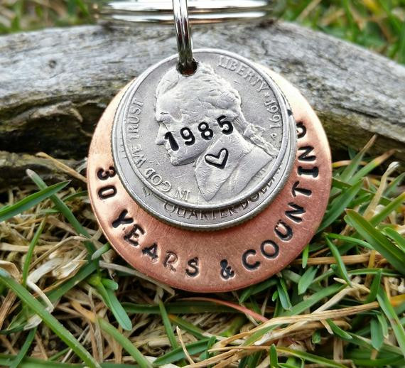 30 Anniversary Gift Ideas  30 year anniversary keychain 30th anniversary by TiffysLove