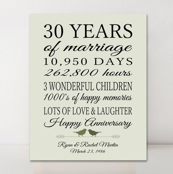 30 Anniversary Gift Ideas  30th Anniversary Gift Personalized Gift 30 Years Married Gift