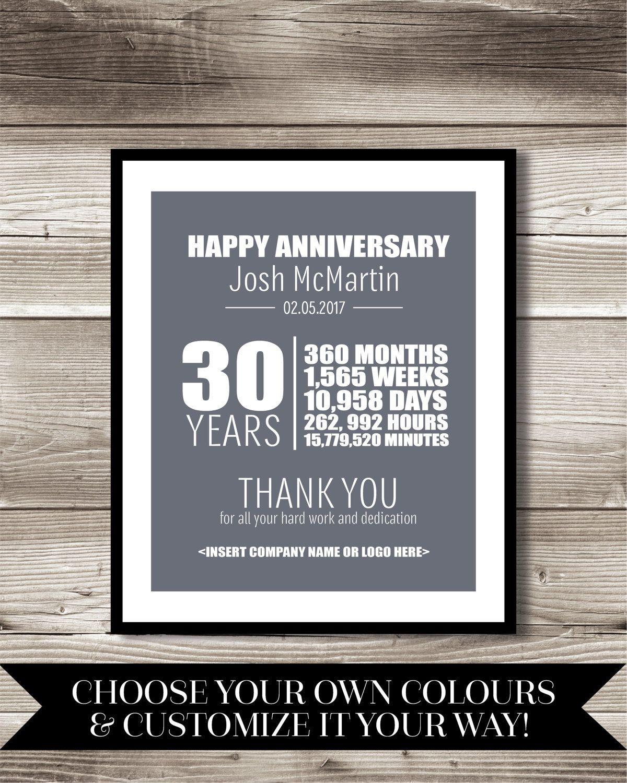 30 Anniversary Gift Ideas  30 Year Work Anniversary Print t digital print