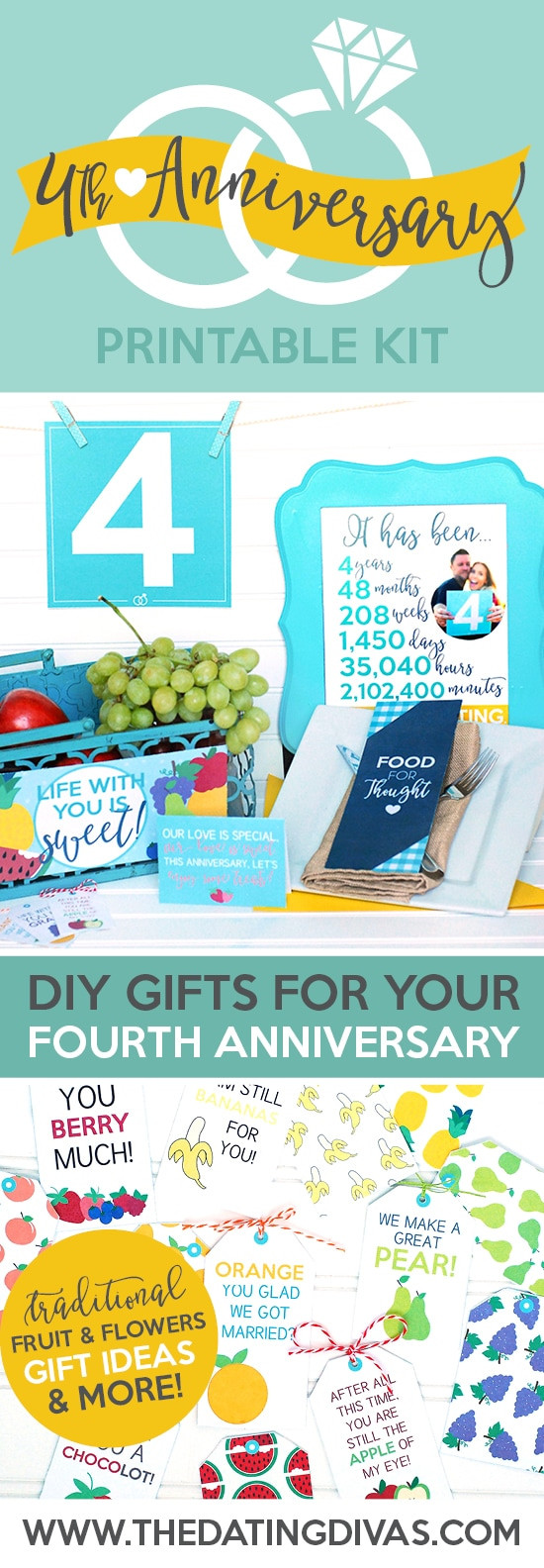 4Th Wedding Anniversary Gift Ideas For Him  Fourth Anniversary Gift Printable Kit The Dating Divas