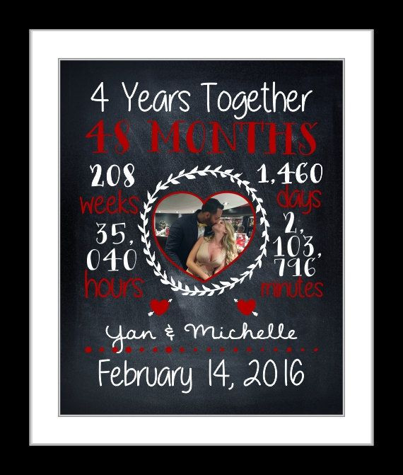 4Th Wedding Anniversary Gift Ideas For Him  Custom anniversary t for her 4th year fourth year