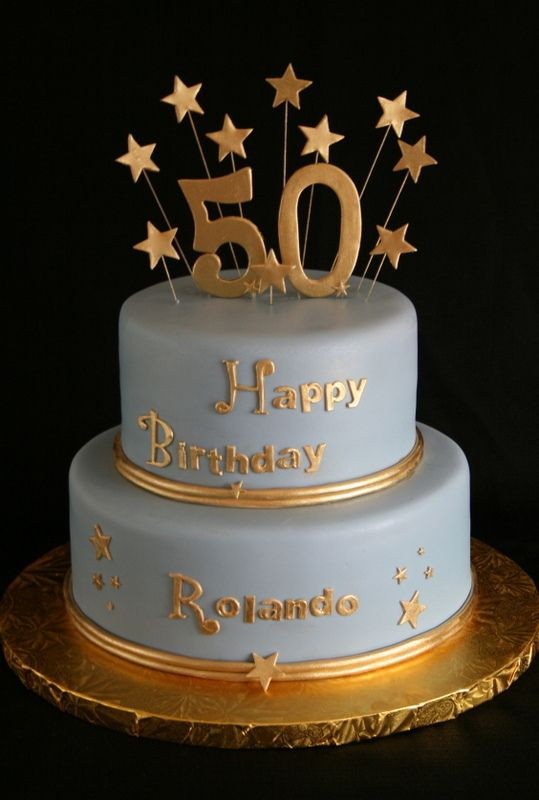 50th Birthday Cake Ideas For Him  50th Birthday Cake Gold and Blue