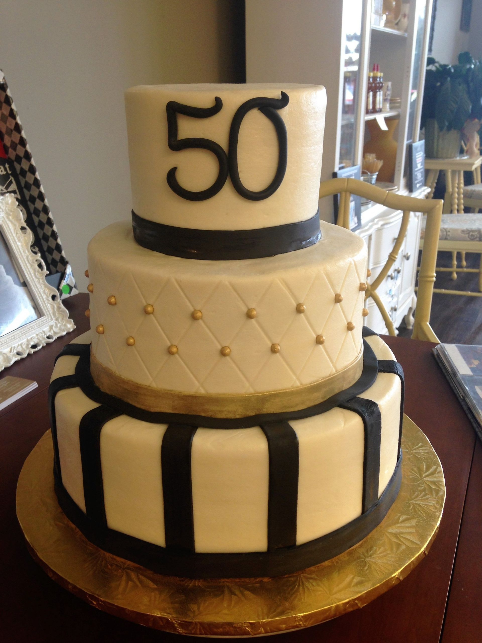 50th Birthday Cake Ideas For Him  Gold and Black 50th Birthday Cake