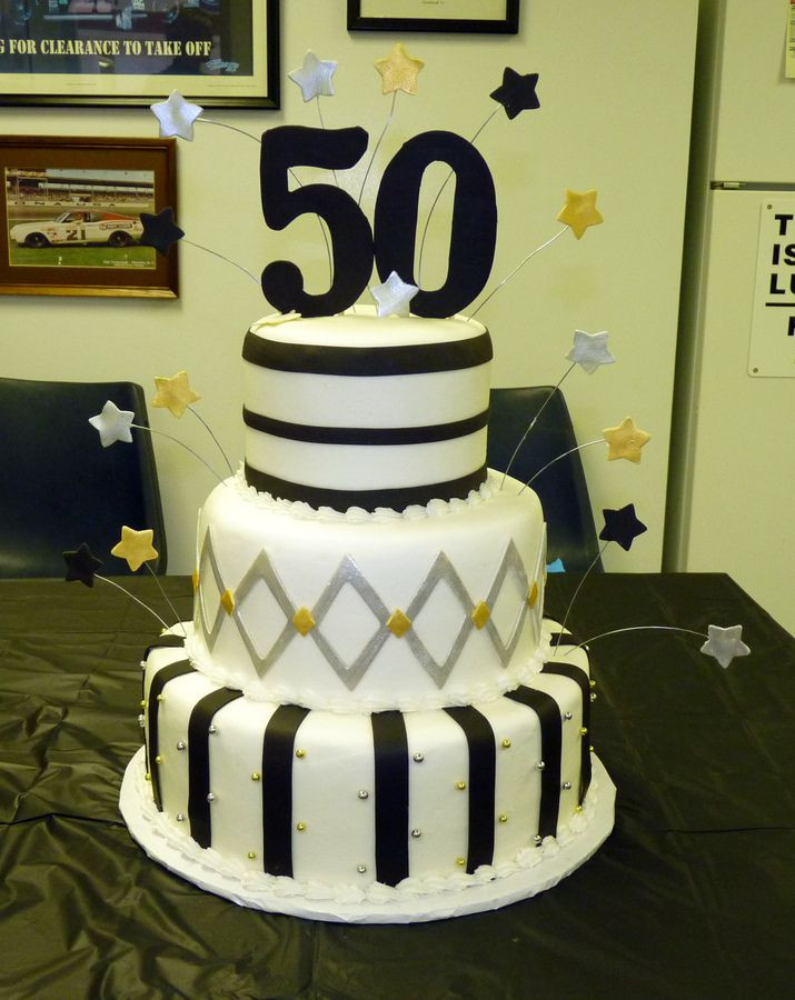 50th Birthday Cake Ideas For Him  Black Silver And Gold 50Th Birthday