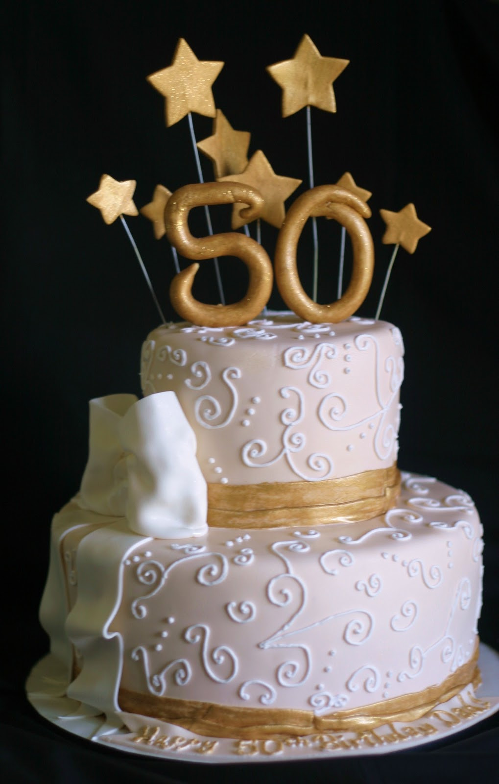 50th Birthday Cake Ideas For Him  Pink Little Cake Gold and light ivory 50th Birthday Cake