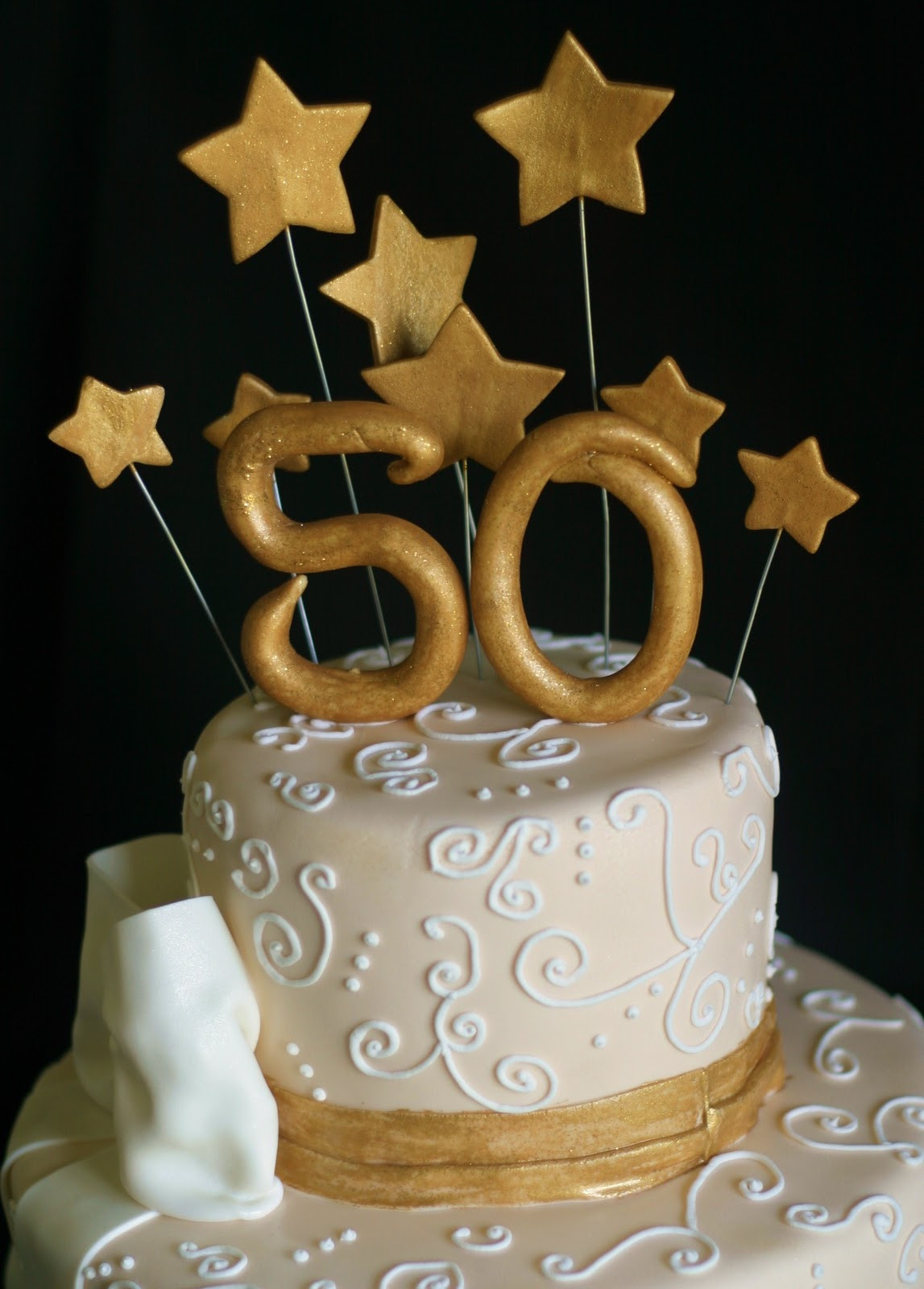 50th Birthday Cakes For Her  Pink Little Cake Gold and light ivory 50th Birthday Cake