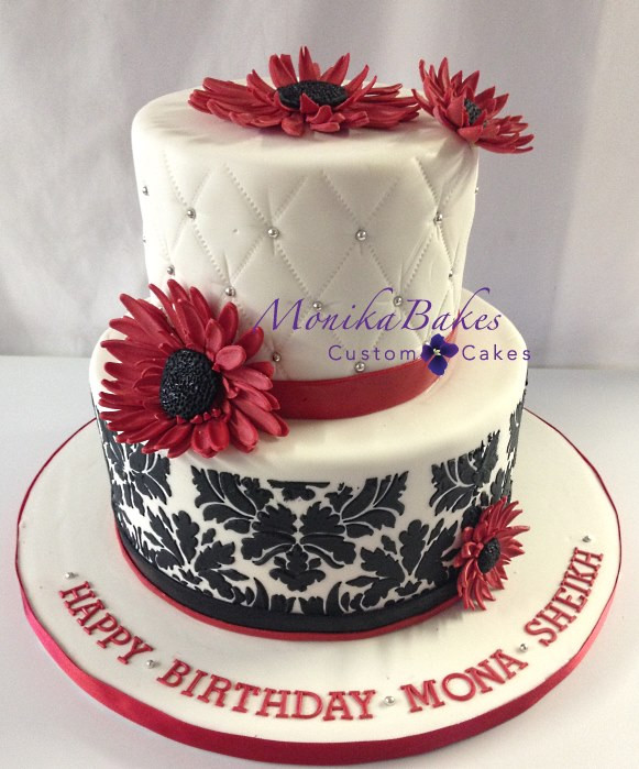 50th Birthday Cakes For Her  Birthdays for her 50th birthday cake black white red and