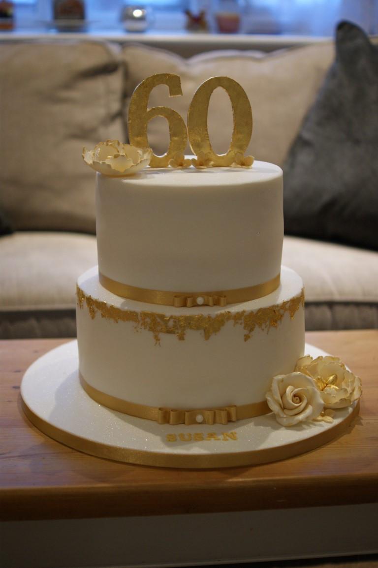 60th Birthday Cake Ideas  Gold Leaf 60th Birthday Cake Bakealous