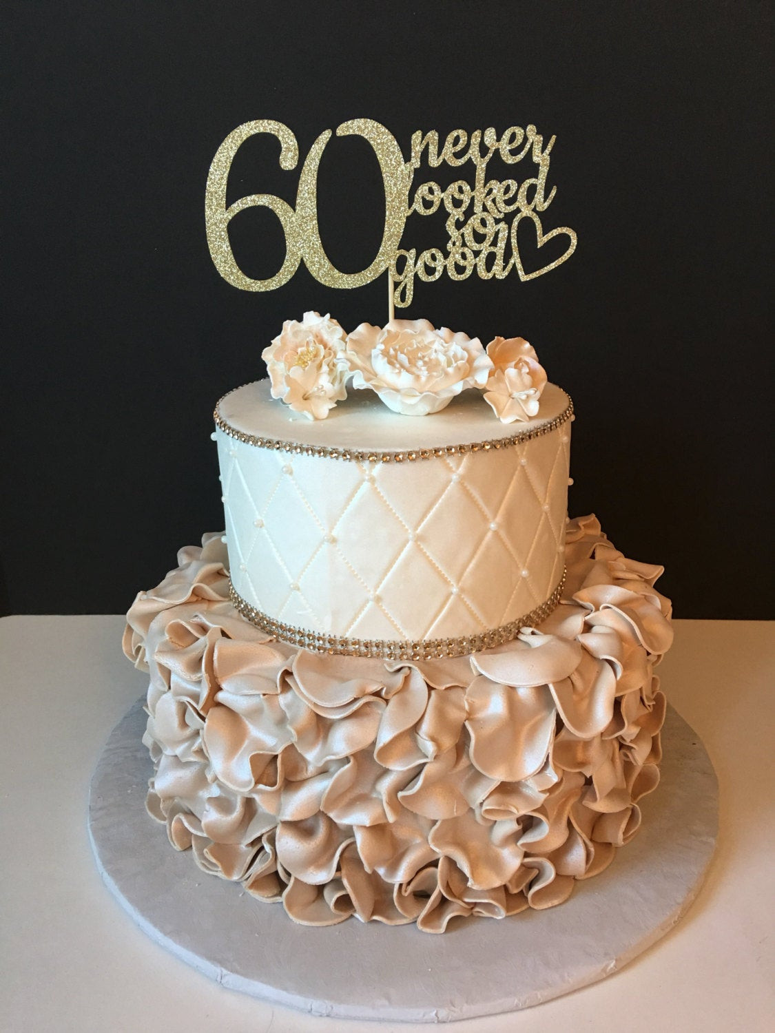 60th Birthday Cake Ideas  ANY NUMBER Gold Glitter 60th Birthday Cake Topper 60 Never