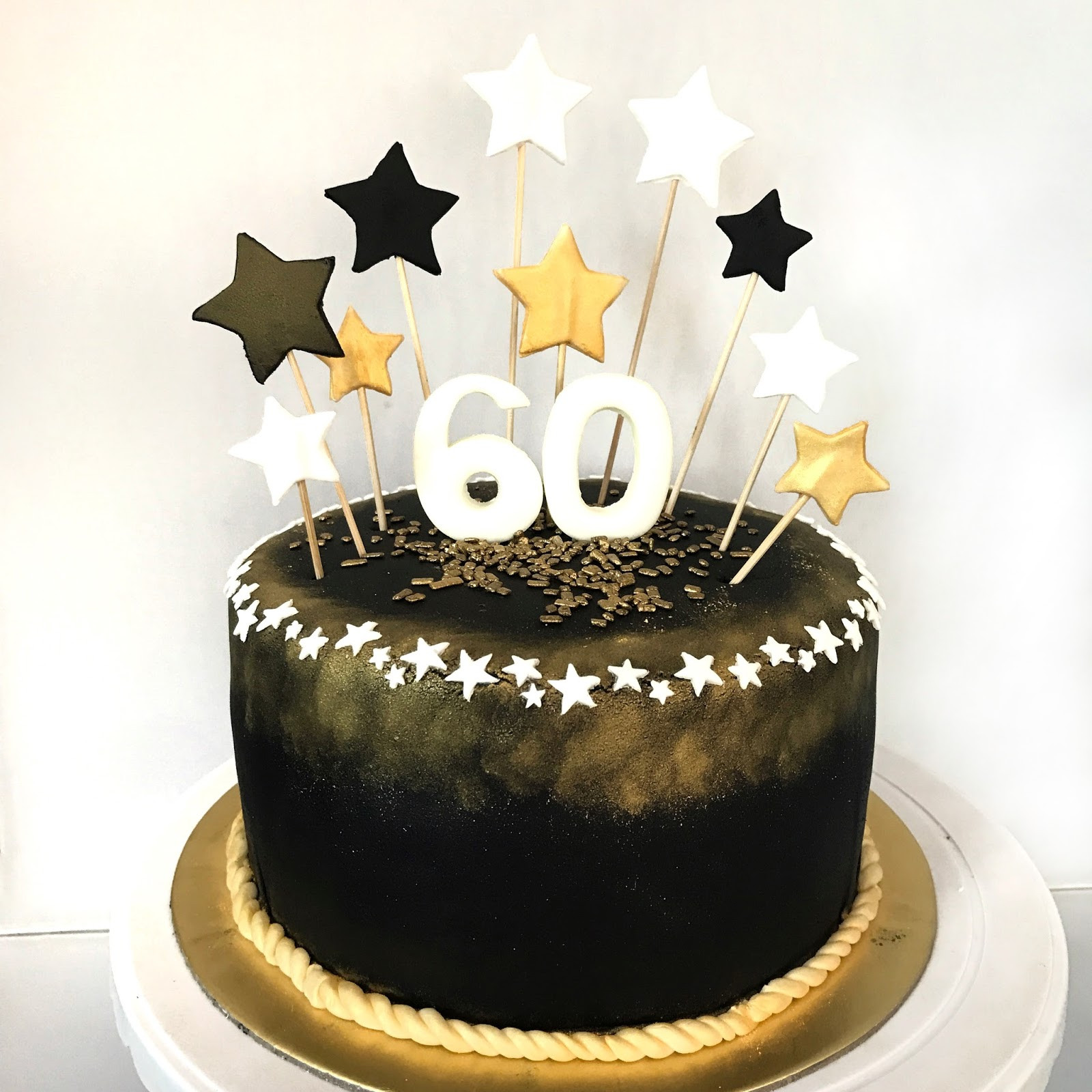 60th Birthday Cake Ideas  Black and Gold 60th Birthday Cake Sherbakes