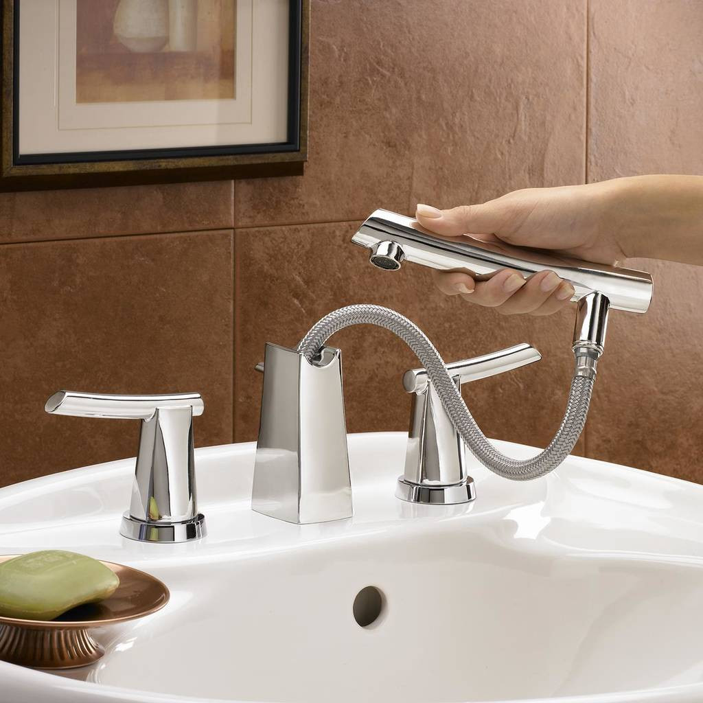 8 Inch Bathroom Sink Faucets  Green Tea 8 Inch Widespread Pull Out Bathroom Faucet