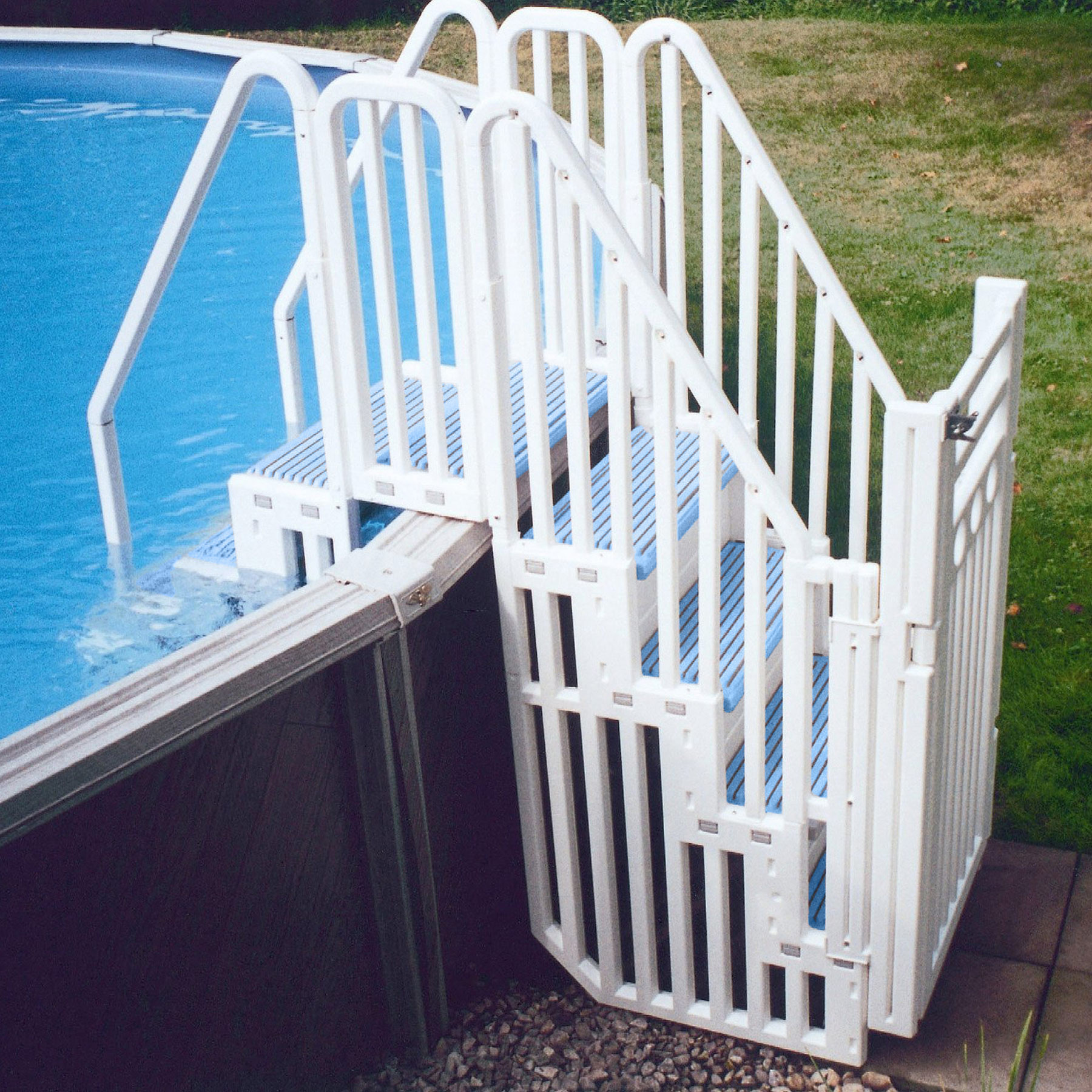 Above Ground Pool Stairs  Confer Entry System for Ground Pools Blue