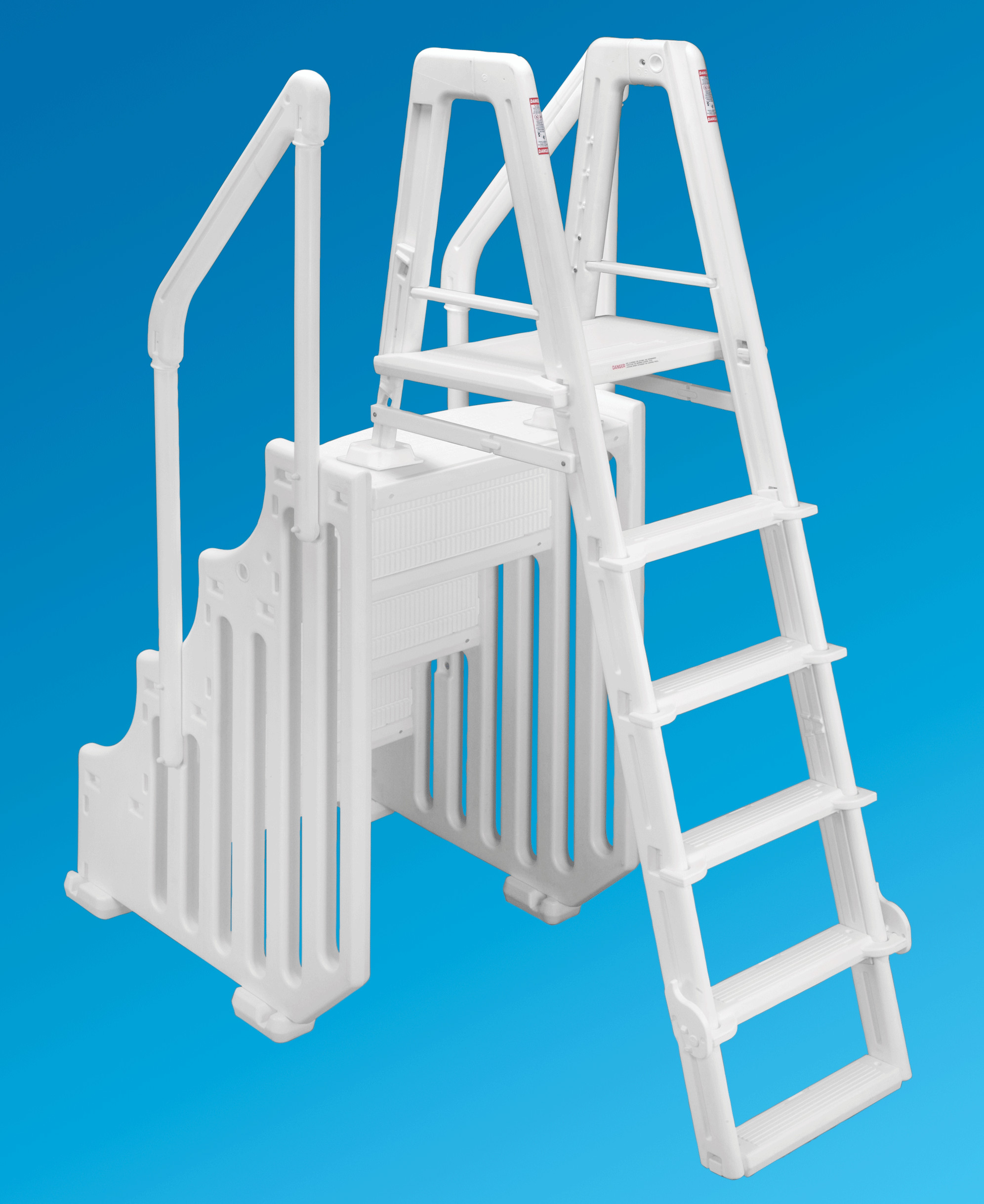 """Above Ground Pool Stairs  The Mighty Step and Safety Ladder Set 30"""" Wide"""