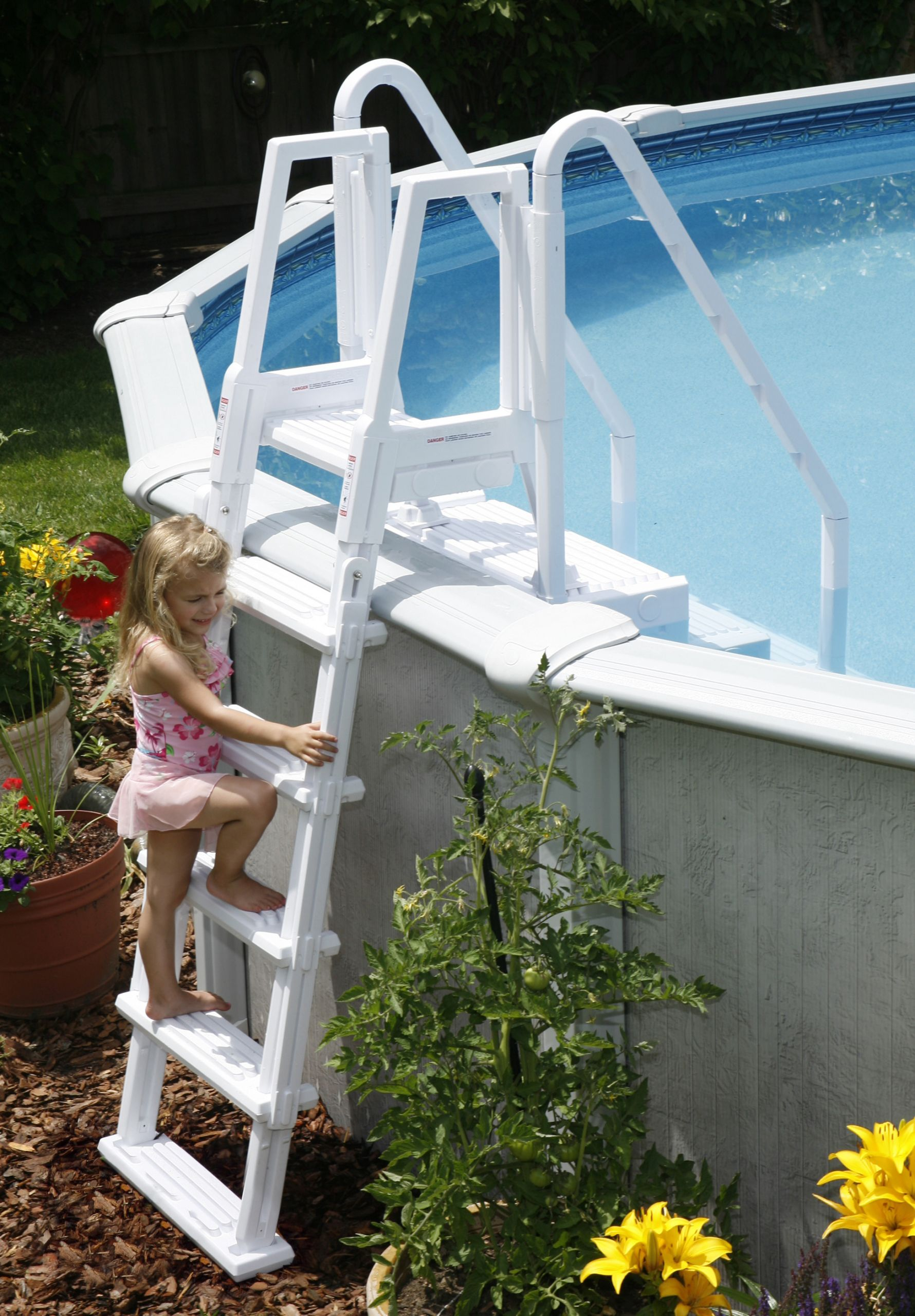 Above Ground Pool Stairs  Easy Ground Pool Step with Outside Ladder