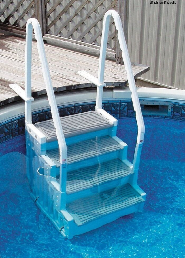 Above Ground Pool Stairs  Ground Swimming Pool Ladder Heavy Duty Step Deck
