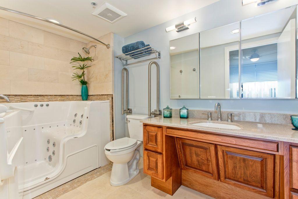 Ada Bathroom Mirror Height  ADA Bathroom with vanity hand rail and walk in tub