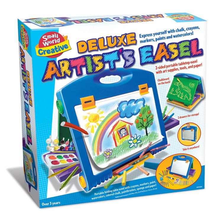 Art Kit For Toddlers  Deluxe Kids Artist Easel with Art Supplies Set
