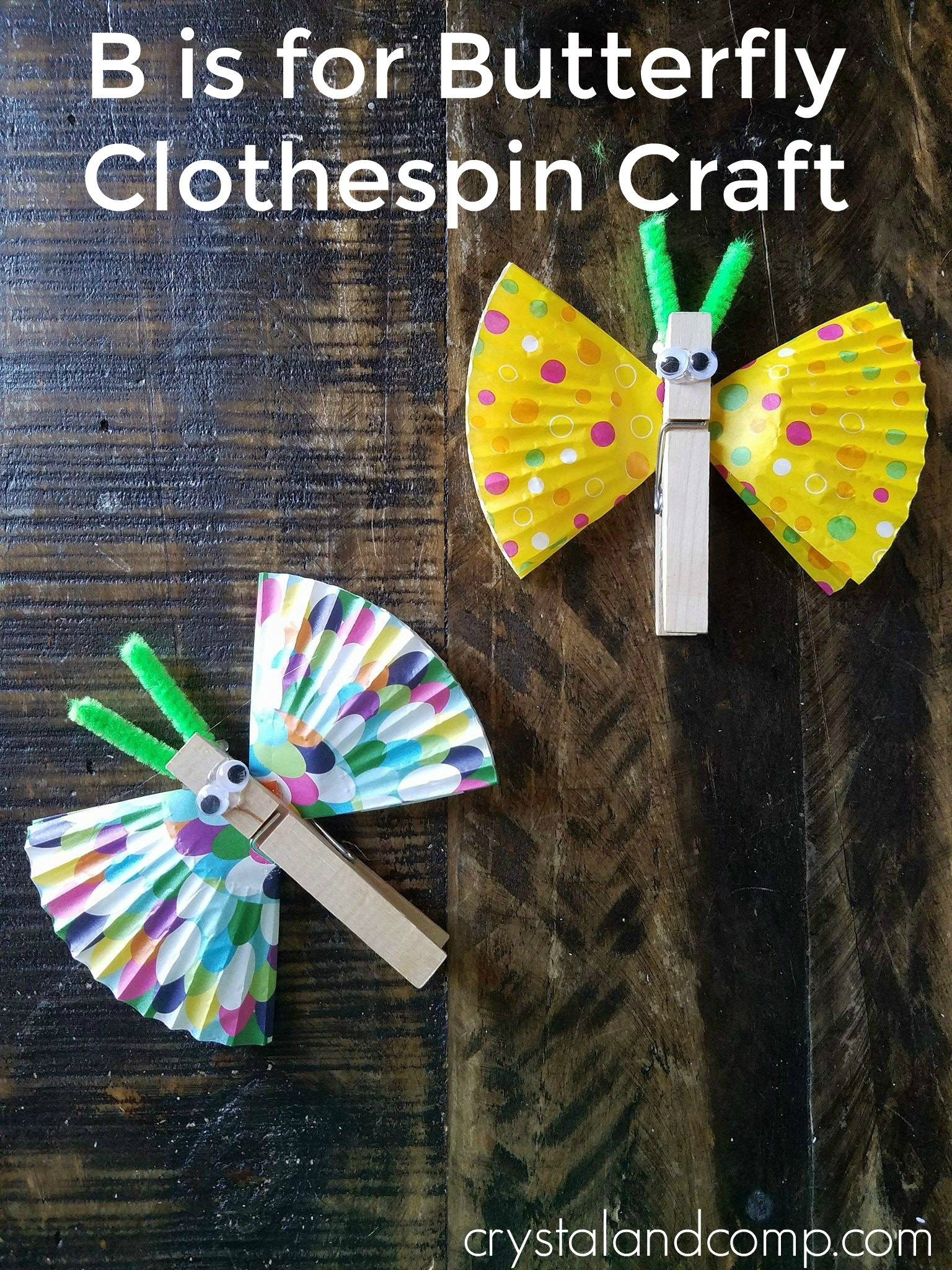 Arts And Crafts For Preschool  Butterfly Clothespin Craft for Preschoolers