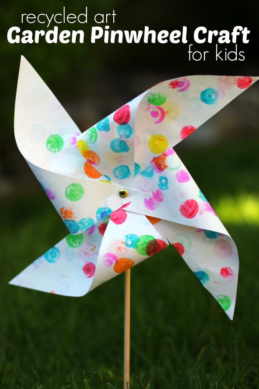 Arts And Crafts For Preschool  Garden Pinwheel Craft for Kids from Recycled Artwork