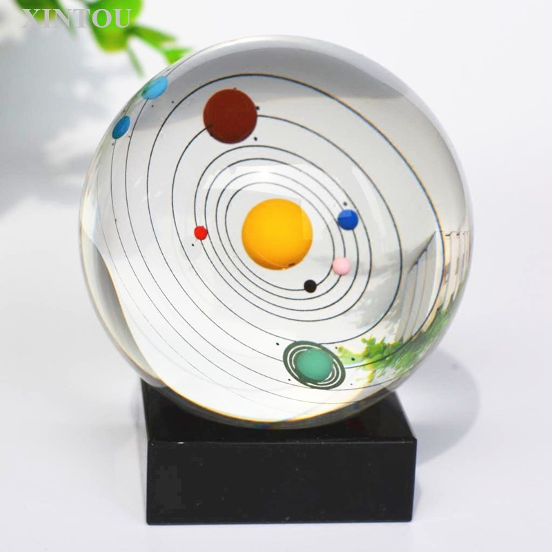 Astronomy Gifts For Kids  XINTOU 8cm Solar System Crystal Ball Decoration Planet