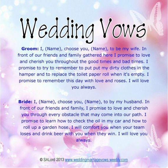 Awesome Wedding Vows  Unique Wedding Vows