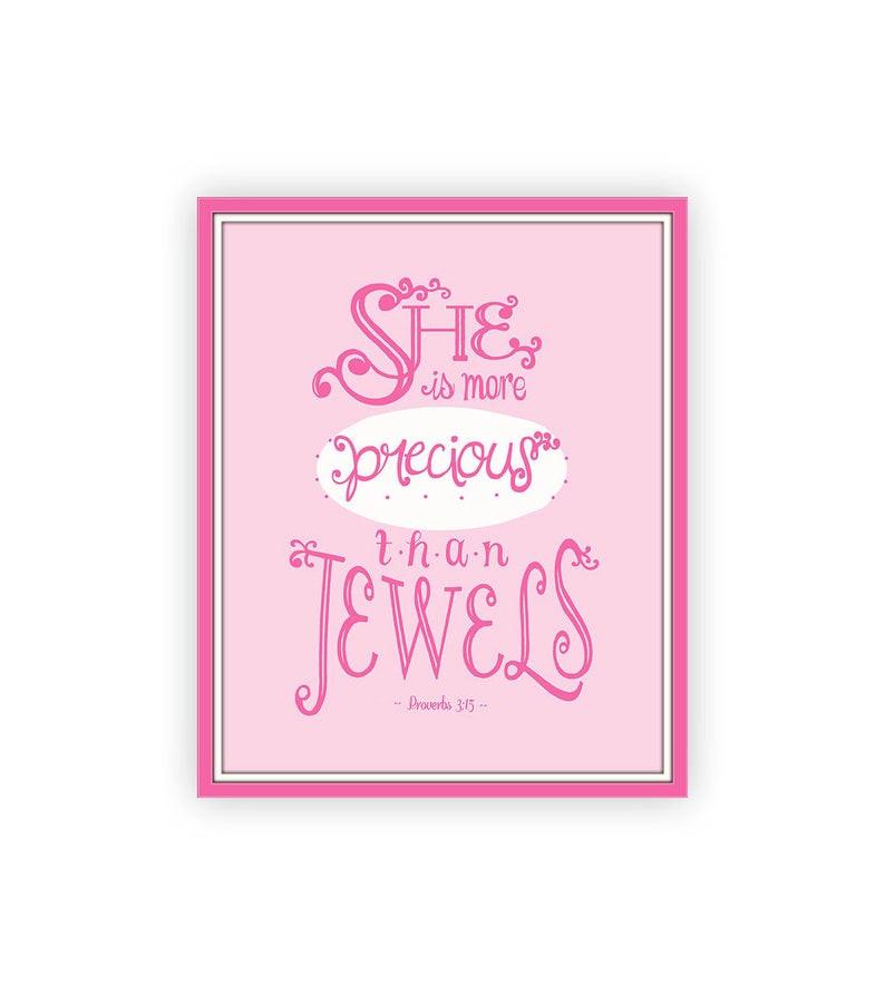 Baby Biblical Quotes  Baby Girl Bible Verse Pink Nursery Print 8x10 Proverbs