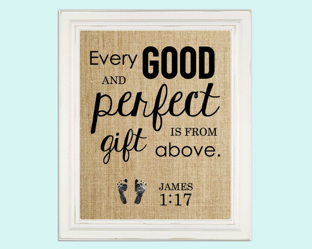 Baby Biblical Quotes  Baby Shower Gift Nursery Decor Baby Bible Verse James 1 17