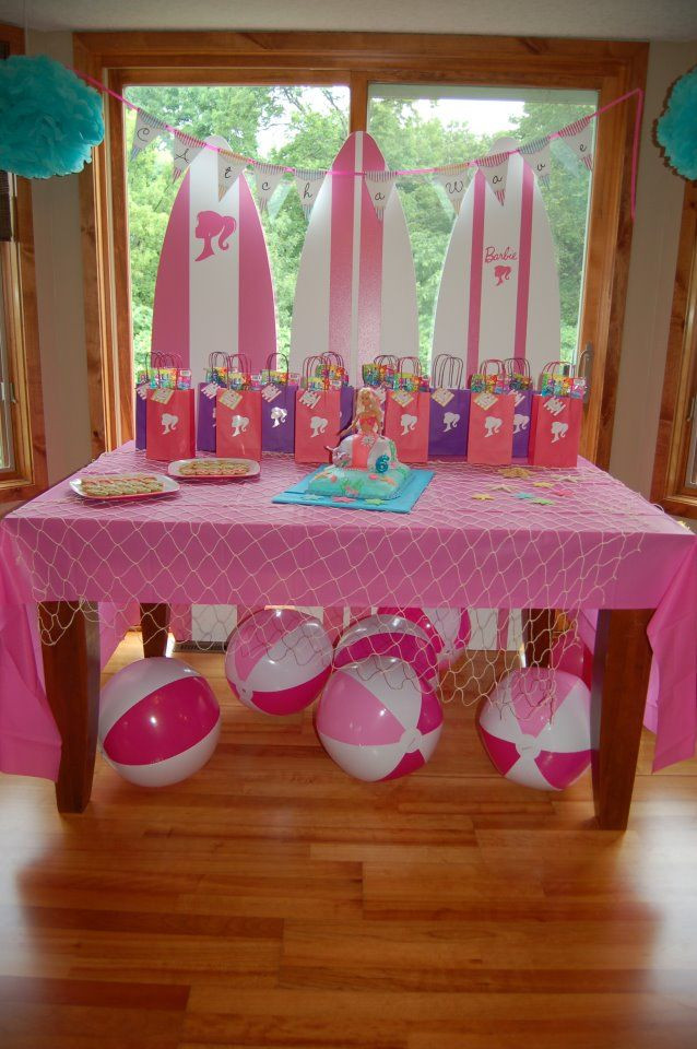 Barbie Beach Party Ideas  For a pool party use Beach balls as decor barbie