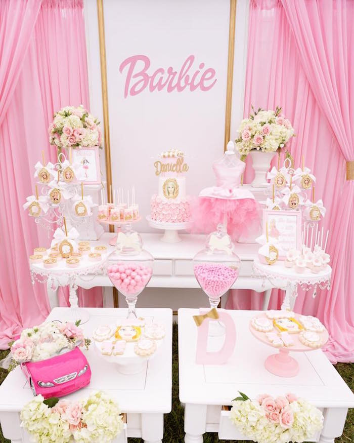 Barbie Beach Party Ideas  Kara s Party Ideas Pink Glam Barbie Birthday Party