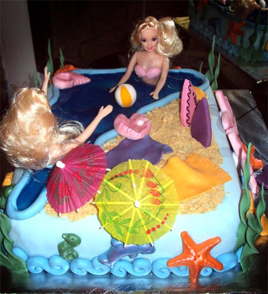 Barbie Beach Party Ideas  Delana s Cakes Beach Barbie Cake