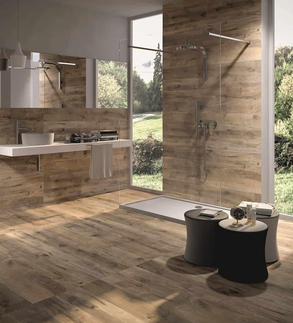Bathroom Ceramic Floor Tile Ideas  Wood Look Tile 17 Distressed Rustic Modern Ideas