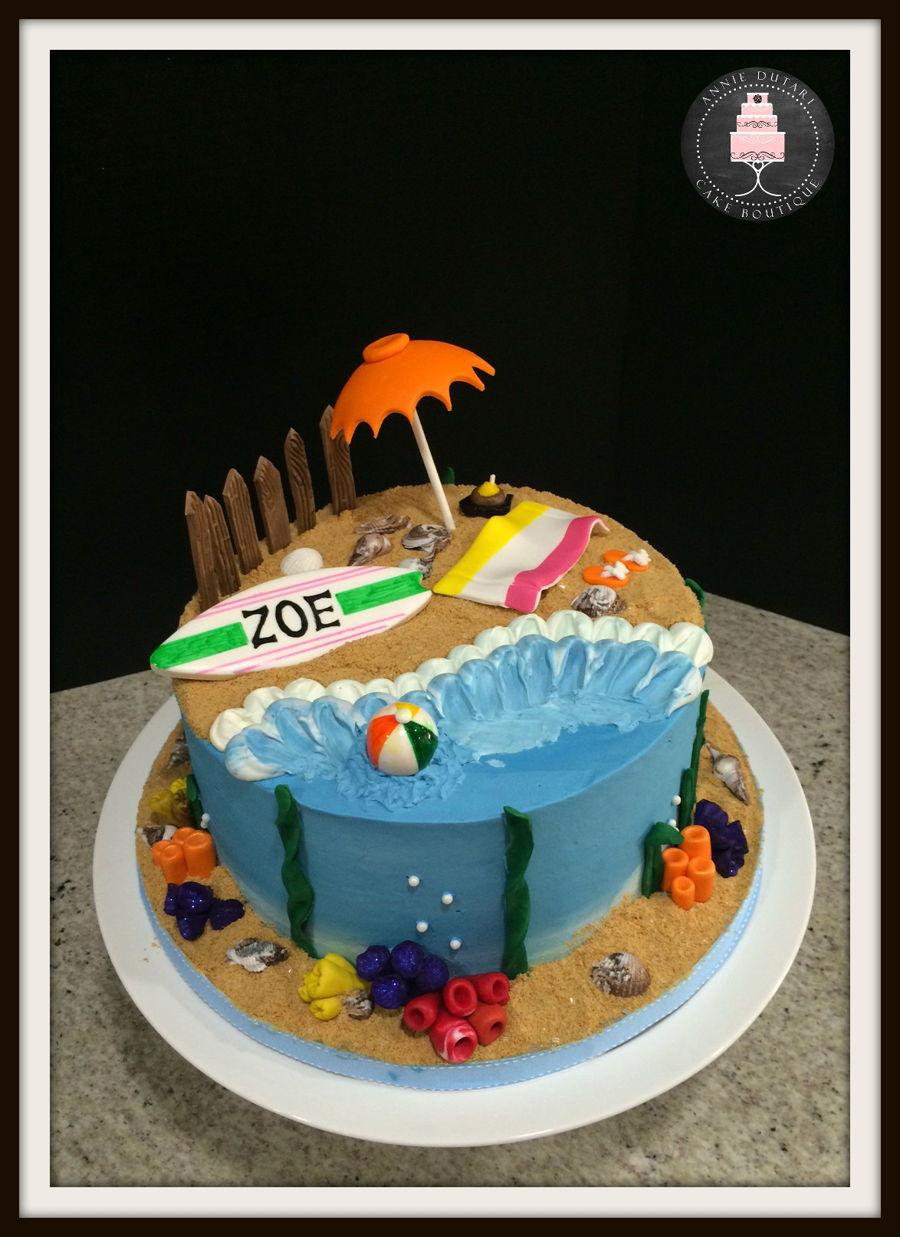 Beach Theme Birthday Cake  Beach Themed Cake CakeCentral