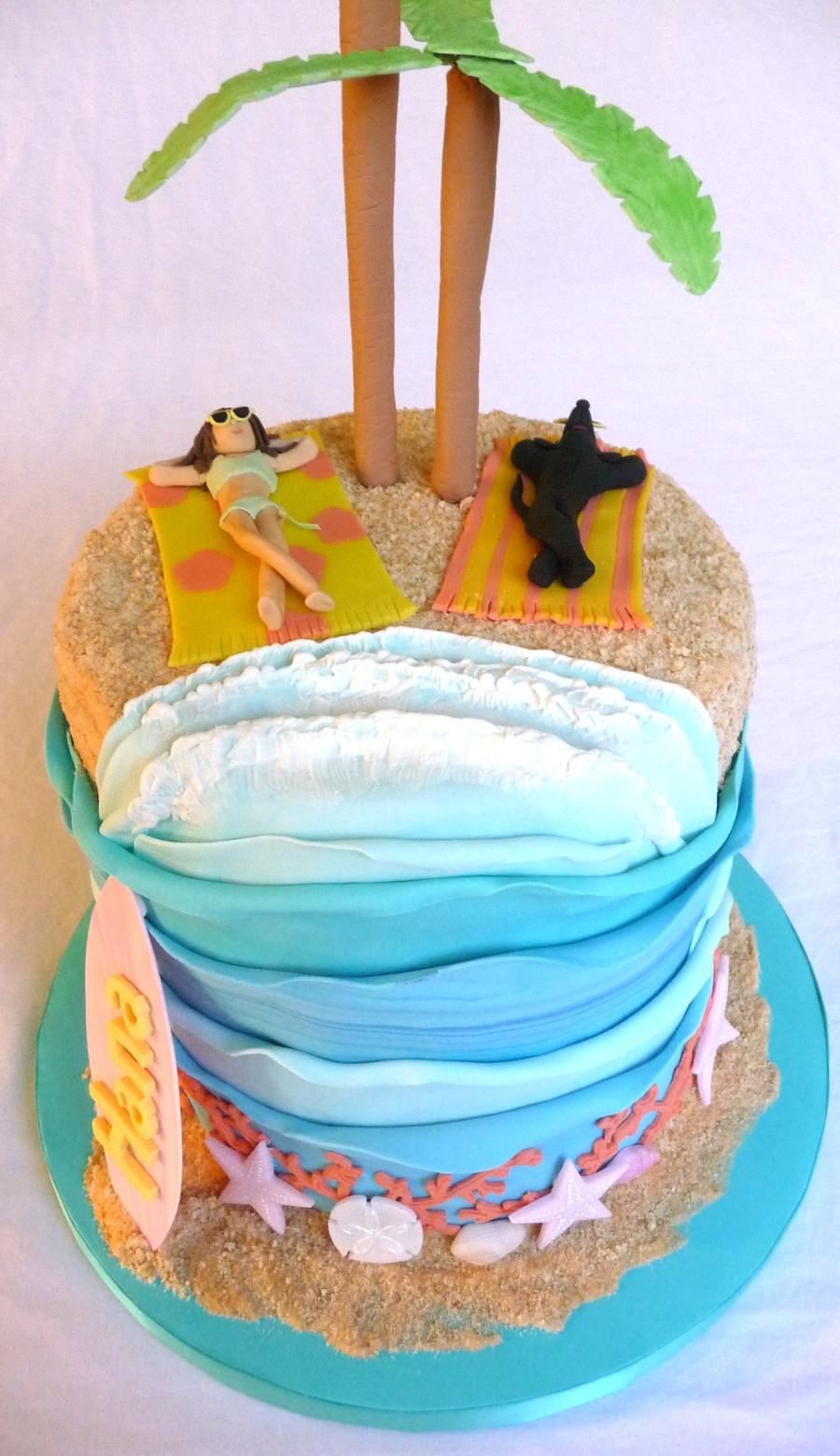 Beach Theme Birthday Cake  Beach Theme Cake CakeCentral