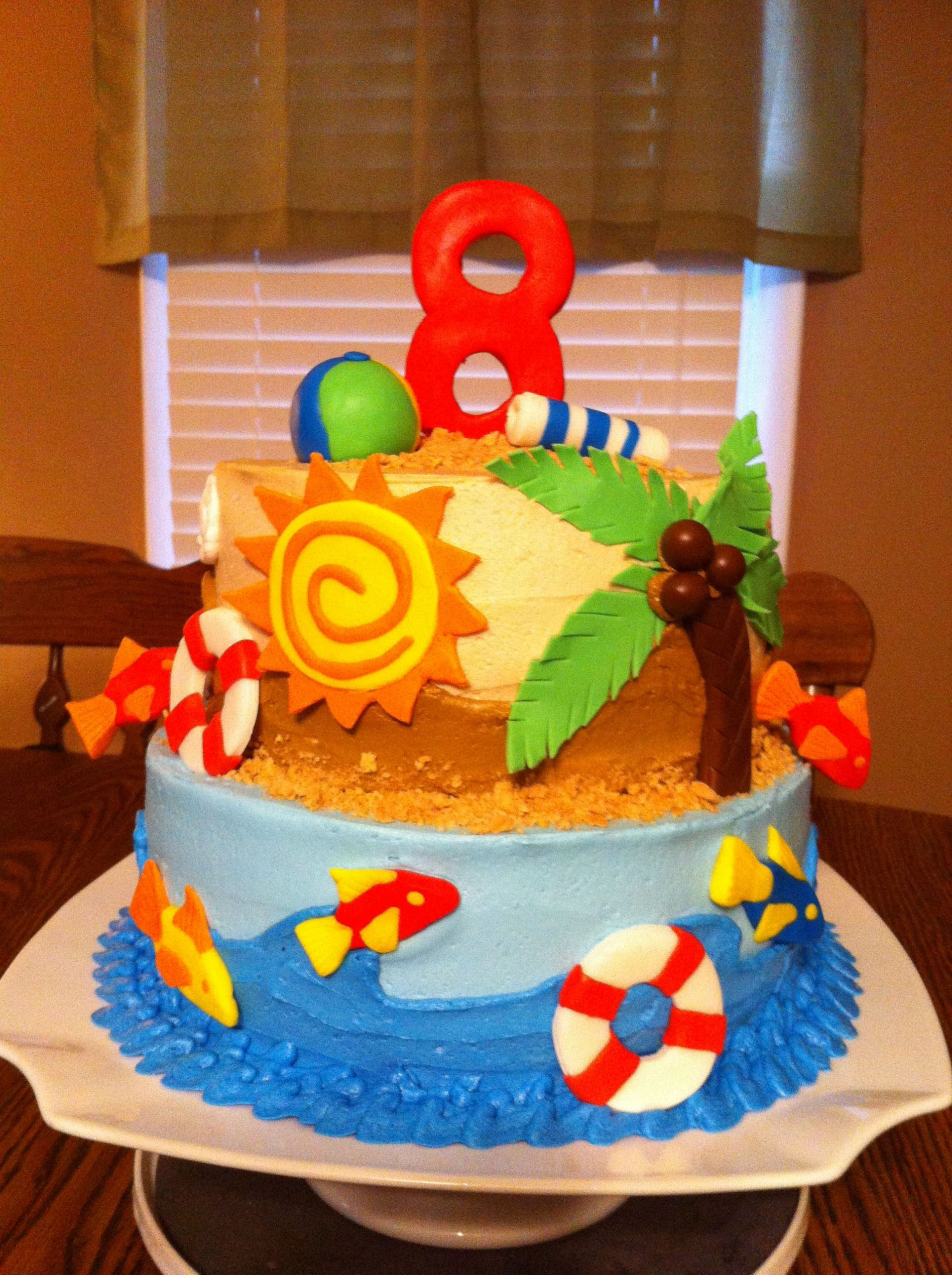 Beach Theme Birthday Cake  Beach themed birthday cake Cakes by Meridyth