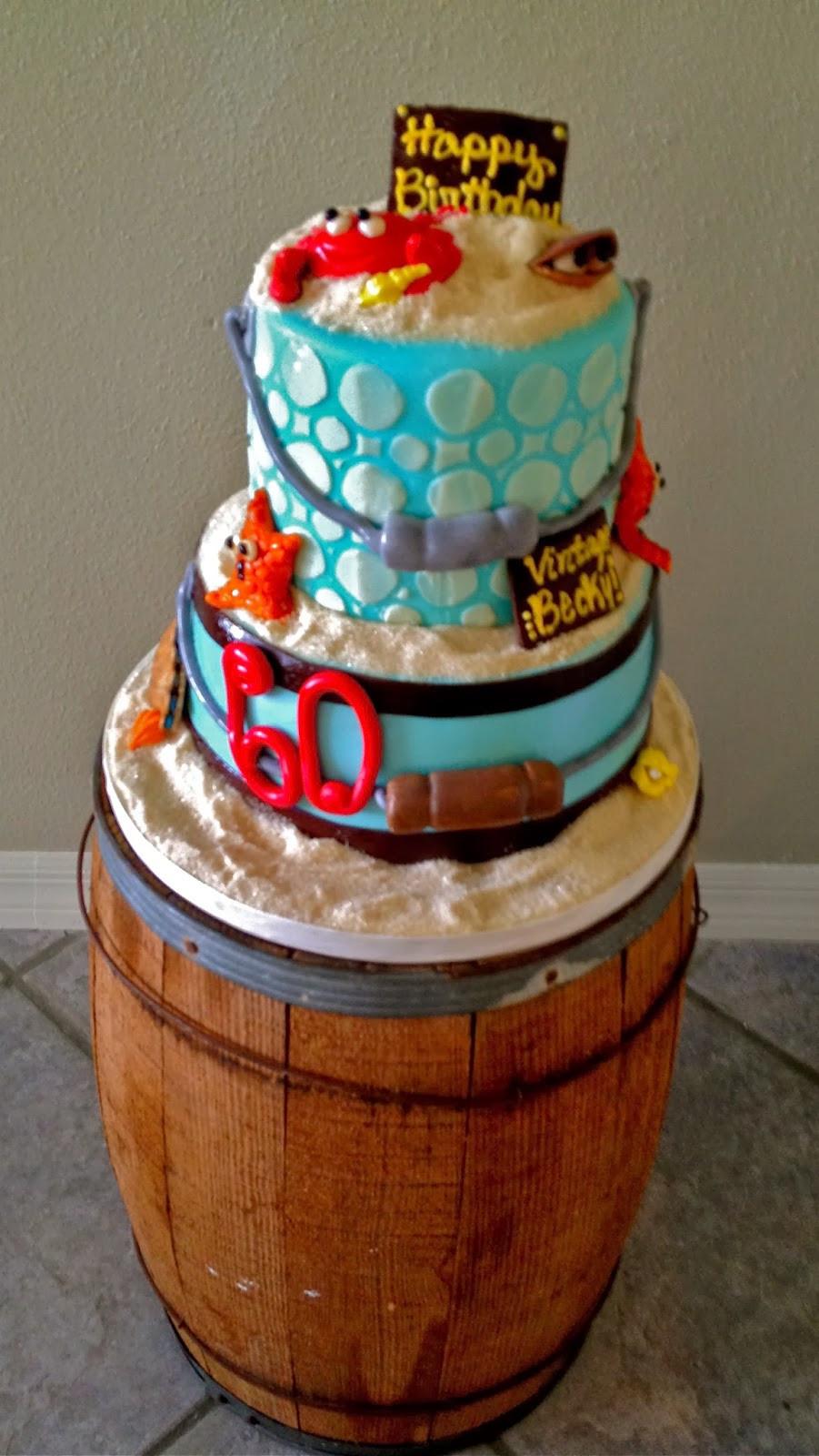 Beach Theme Birthday Cake  Sweet T s Cake Design Beach Themed Sand Bucket Birthday Cake