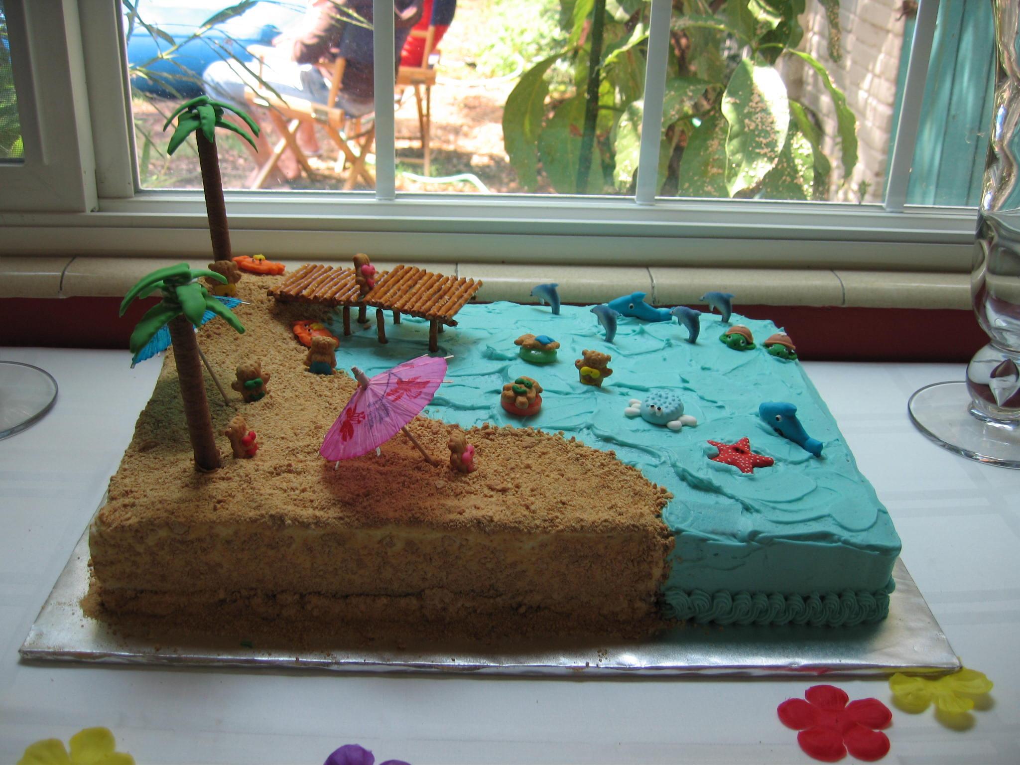 Beach Theme Birthday Cake  Summer beach cake