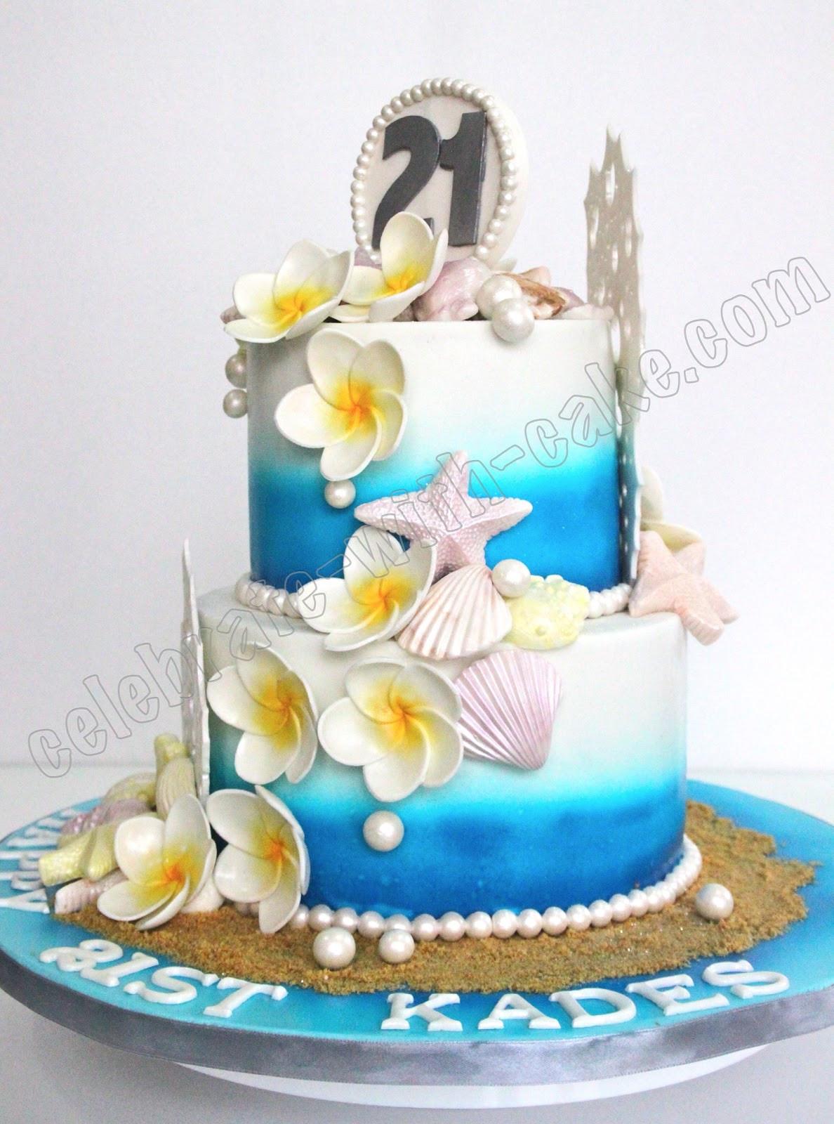 Beach Theme Birthday Cake  Celebrate with Cake 21st Birthday Beach Themed Cake