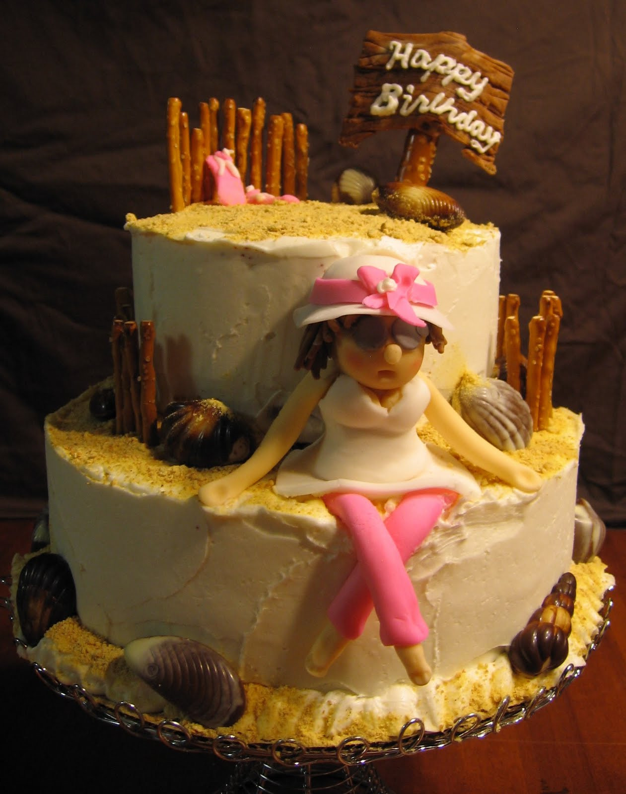 Beach Theme Birthday Cake  Sue s Sweet Creations Beach Theme Birthday Cake