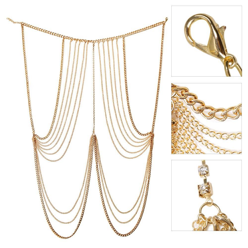 Beaded Body Jewelry  Multi layer Body Chain Jewelry With Rhinestone Beaded