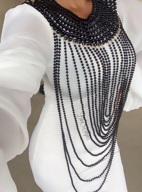 Beaded Body Jewelry  Black Beaded Body Chain Denenecek Tarifler