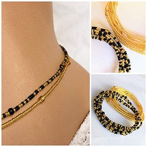 Beaded Body Jewelry  Amazon Black and Gold Waist Beads 2 pcs Belly bead