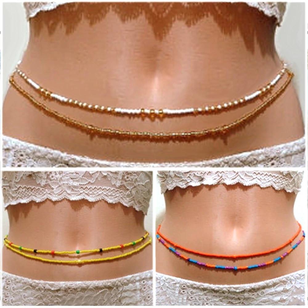 Beaded Body Jewelry  2019 Bohemia Double Bead Belly Chains Body Jewelry Women