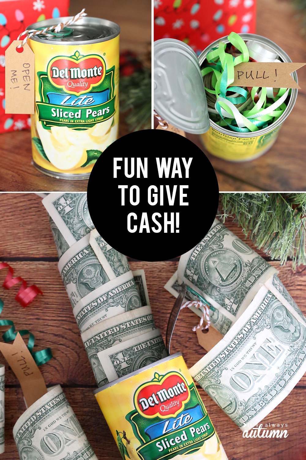 Best Gag Gift Ideas  Funny Christmas money t idea Cash in a can It s
