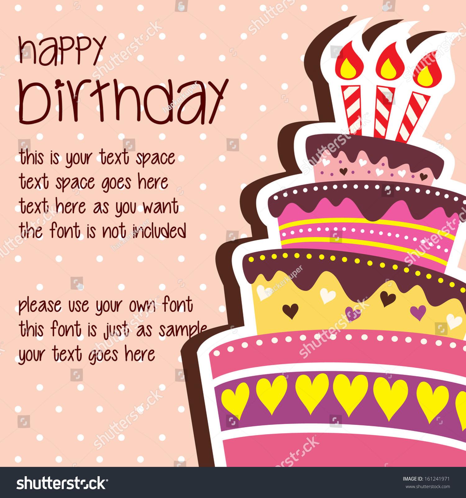 Birthday Card Text  Happy Birthday Card Template Layered Stock Vector