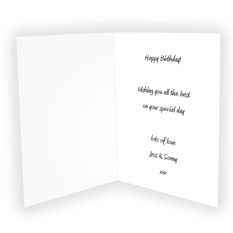 Birthday Card Text  Personalised Cards Next Day Delivery Personalised