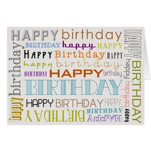 Birthday Card Text  Uni Multicolor Happy Birthday Text Bday Card