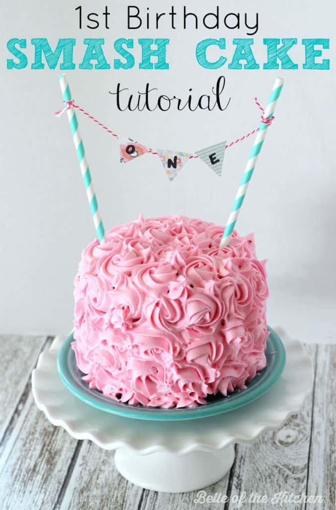 Birthday Smash Cake  1st Birthday Smash Cake Tutorial Simple Vanilla Cake