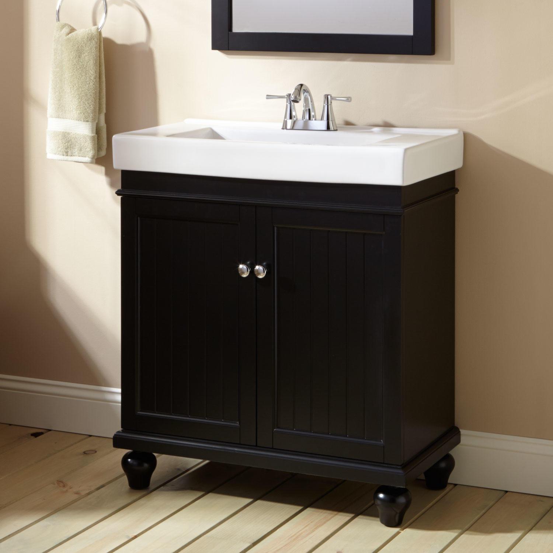 """Black Bathroom Cabinet  30"""" Lander Vanity Black Bathroom"""